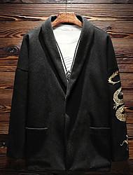 メンズ お出かけ カジュアル/普段着 冬 秋 コート,ストリートファッション シャツカラー ソリッド レギュラー ポリエステル 長袖