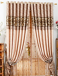 cheap -Grommet Top Double Pleat Pencil Pleat Curtain Modern, Yarn Dyed Floral Living Room Polyester Blend Material Blackout Curtains Drapes Home
