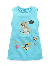 cheap -Girl's Casual/Daily Print Dress,Polyester Winter Fall Sleeveless Simple Blushing Pink Light Blue