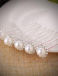 cheap -Imitation Pearl Rhinestone Hair Pin Hair Stick with Rhinestone Imitation Pearl 5PCS Wedding Headpiece