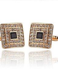 cheap -Square Cut Silver Golden Cufflinks Rhinestone Alloy Dresswear Daily Formal Men's Costume Jewelry