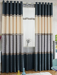 cheap -Grommet Top Double Pleat Pencil Pleat Curtain Modern, Yarn Dyed Damask Living Room Polyester Blend Material Blackout Curtains Drapes Home