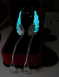 abordables -Femme Lumineux 2pcs Boucles d'oreille goutte - Lumineux / Illuminé / Mode Bleu clair Ailes / Plume Des boucles d'oreilles Pour Quotidien
