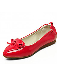 cheap -Women's Shoes Leatherette Spring Fall Comfort Novelty Light Soles Flats Flat Pointed Toe Bowknot for Casual Dress Blue Red Purple