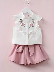 Недорогие -Девочки Набор одежды Хлопок Вышивка Лето Без рукавов Шинуазери (китайский стиль) Уличный стиль Зеленый Розовый