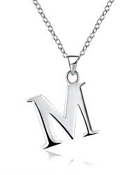 Недорогие -Жен. Гипоаллергенный Серебрянное покрытие Ожерелья с подвесками Ожерелья-цепочки - Гипоаллергенный Мода Милая Буквы Серебряный Ожерелье