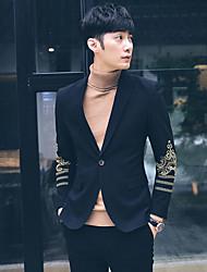 cheap -Men's Work Casual Spring Fall Blazer,Floral Print Shirt Collar Long Sleeve Long Polyester Oversized