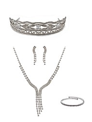 cheap -Women's Rhinestone Imitation Diamond Jewelry Set Body Jewelry / 1 Necklace / Earrings - Fashion / European Line White Tiaras / Bridal