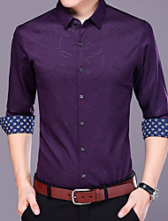 cheap -Men's Casual/Daily Vintage Shirt,Print Shirt Collar ¾ Sleeve Polyester