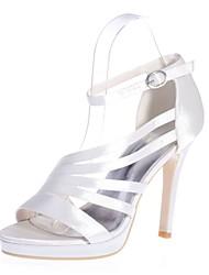 preiswerte -Damen Schuhe Satin Frühling Sommer Pumps Sandalen Stöckelabsatz Offene Spitze Schnalle für Hochzeit Party & Festivität Schwarz Purpur
