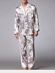 Homens Conjunto Pijamas Estampado Poliéster Preto Cinzento Khaki