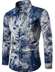 cheap -Men's Club Vintage Active Chinoiserie Linen Slim Shirt - Floral Standing Collar