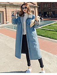 cheap -Women's Going out Simple Winter Fall Jacket,Color Block Shirt Collar Long Sleeve Long Cotton Lace