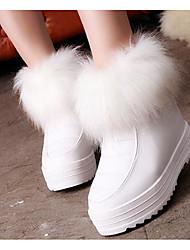 Feminino Sapatos Couro Ecológico Inverno Outono Conforto Botas de Neve Botas Creepers Botas Curtas / Ankle para Casual Branco Preto