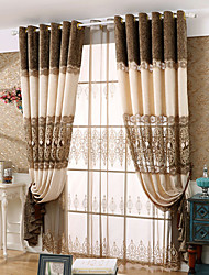 cheap -Grommet Top Double Pleat Pencil Pleat Curtain Contemporary Floral Polyester Material Sheer Curtains Shades Home Decoration