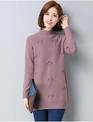 economico -Standard Pullover Da donna-Casual Semplice Tinta unita Girocollo Manica lunga Poliestere Inverno Autunno Spesso Media elasticità