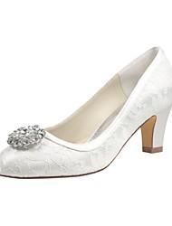 abordables -Femme Chaussures Satin Elastique Printemps / Automne Escarpin Basique Chaussures de mariage Talon Bottier Bout rond Cristal Ivoire