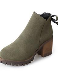 Damer Sko Nubuck Læder Vinter Forår Modestøvler Støvle Støvler Kraftige Hæle Rund Tå Lukket Tå Ankelstøvler Rosette for Afslappet Formelt