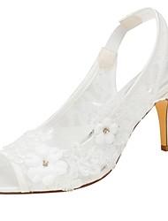 abordables -Femme Chaussures Satin Elastique Eté Escarpin Basique Chaussures de mariage Talon Aiguille Bout ouvert Perle / Paillette Ivoire