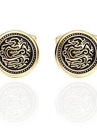 Недорогие -Круглый Золотой Запонки Медь азиатский Мода Повседневные фестиваль Муж. Бижутерия