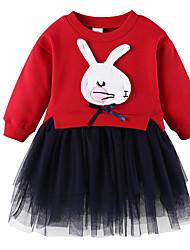 cheap -Girl's Christmas Birthday Solid Dress,Cotton Spring Long Sleeves Cartoon Princess Navy Blue Wine