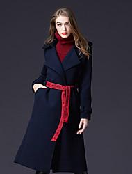 Dámské Jednobarevné Dovolená Běžné/Denní Jednoduchý Aktivní Kabát-Zima Umělé hedvábí Polyester Košilový límec Dlouhé rukávy Dlouhé
