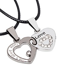 cheap -Couple's Heart Stainless Steel Leather Pendant Necklace  -  Casual Korean Silver Necklace For Wedding Date