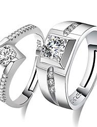 economico -Per uomo Per donna Anelli per coppie Zircone cubico Dolce Di tendenza Elegant Zirconi Rame Di forma geometrica Gioielli Matrimonio Feste