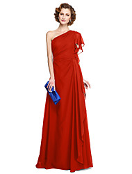 cheap -A-Line One Shoulder Floor Length Chiffon Mother of the Bride Dress with Pleats by LAN TING BRIDE®