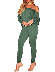 cheap -Women's T-shirt - Solid, Slim Sexy High Waist Pant One Shoulder