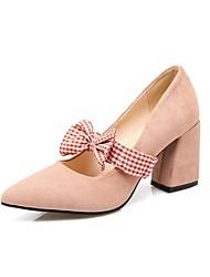 preiswerte -Damen Schuhe Nubukleder Kunstleder Frühling Pumps High Heels Blockabsatz Spitze Zehe Schleife für Kleid Schwarz Rot Rosa
