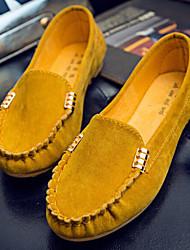 Feminino Sapatos Couro Ecológico Primavera Outono Conforto Mocassins e Slip-Ons Sem Salto para Casual Preto Amarelo Fúcsia Verde