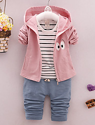 cheap -Girls' Daily Going out Solid Print Cartoon Clothing Set,Cotton All Seasons Long Sleeve Cute Casual Active Green Blushing Pink Light Brown