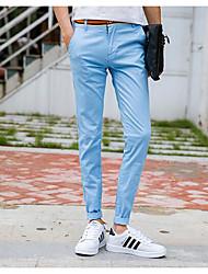 Masculino Simples Cintura Média Micro-Elástica Chinos Calças,Sólido Algodão Poliéster Outono