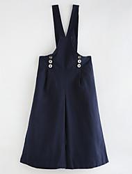abordables -Robe Fille de Couleur Pleine Coton Printemps, Août, Hiver, Eté Rétro Chic de Rue Bleu Marine Gris