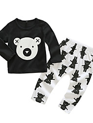 cheap -Baby Unisex Daily Print Clothing Set, Cotton Spring Casual Long Sleeves Black