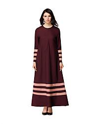 abordables -Ethnique et Religieux Jalabiya Robe caftan Abaya Robe Arabe Femme Fête / Célébration Déguisement d'Halloween Noir Rouge Bleu Encre Vert