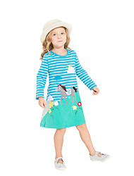 cheap -Girl's Daily Holiday Striped Dress, Cotton All Seasons Long Sleeves Cute Casual Blue