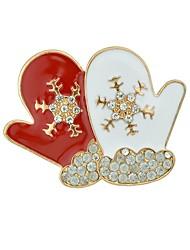 abordables -Mujer Copo de Nieve Broche - Básico / Dibujos Blanco / Rojo Broche Para Navidad / Cita