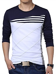 abordables -Hombre Casual Diario Deportes Invierno Otoño Camiseta,Escote Redondo A Rayas Bloques Mangas largas Algodón Medio