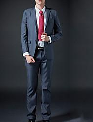 Langærmet Krave Herrer Normal Ensfarvet Efterår Simple Arbejdstøj Jakkesæt,Polyester
