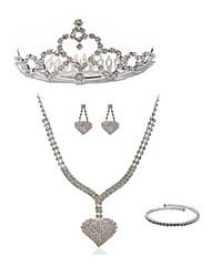 preiswerte -Damen Strass Diamantimitate Herz Schmuck-Set Körperschmuck 1 Halskette Ohrringe - Modisch Europäisch Herz Ketten Braut-Schmuck-Sets Für