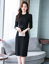 cheap -Women's Daily Casual Sweater Dress,Solid Round Neck Knee-length Long Sleeve Polyester Fall High Waist Micro-elastic Thin