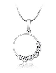 cheap -Women's Floral Synthetic Diamond Silver Plated Pendant Necklace Chain Necklace  -  Floral Sweet Circle Silver Necklace For Wedding