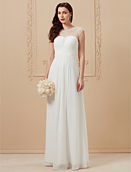 cheap -A-Line Jewel Neck Floor Length Chiffon Custom Wedding Dresses with Beading Criss Cross by LAN TING BRIDE®