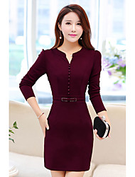 cheap -Women's Daily Going out Street chic Bodycon Sheath Dress,Solid V Neck Above Knee Long Sleeve Cotton Spring Fall High Waist Inelastic