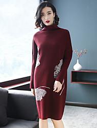 baratos -Mulheres Tricô Vestido Floral Colarinho Chinês
