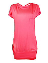 economico -T Shirt Vestito Da donna-Casual Per uscire Semplice Romantico Sensuale Tinta unita Rotonda Al ginocchio Maniche lunghe Poliestere Estate