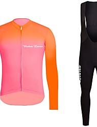 economico -Manica lunga Maglia con salopette lunga da ciclismo - Arancione Lilla Bicicletta Maglietta/Maglia Set di vestiti