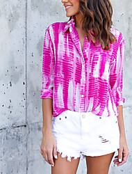 cheap -Women's Holiday Casual/Daily Street chic All Seasons Shirt,Print Shirt Collar ¾ Sleeve Polyester